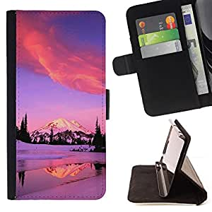 Jordan Colourful Shop - winter Alaska mountains lake pink purple For HTC One M7 - Leather Case Absorci???¡¯???€????€????????&ce