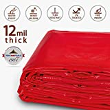 20-Foot by 30-Foot Multi-Purpose 100% Waterproof Red Heavy Duty PVC Vinyl Tarp Cover 12 Mil Thickness for Inflatables, Tents, and Weather Protection