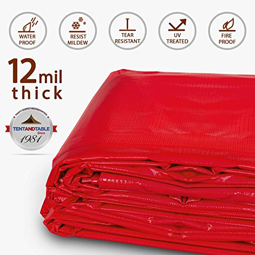 20-Foot by 30-Foot Multi-Purpose 100% Waterproof Red Heavy Duty PVC Vinyl Tarp Cover 12 Mil Thickness for Inflatables, Tents, and Weather Protection by Moose Supply