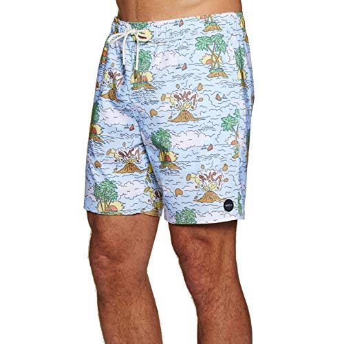 RVCA Montague Elastic Tru Boardshorts X Large Blue (Swim Shorts For Men Rvca)