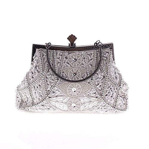 Main Ofgcfbvxd Grey Strass Bag Sac Bridal Femmes Evening Dames Perles Purse À Clutch Couleur Vintage Argent Mariage HHfvq4F