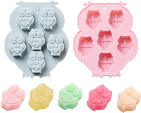 2 Pack Mini Chocolate Mold Owl Shape Silicone Mold For Candy Gummy Jello Ice Cube Crayon Melt Biscuits Cake Decoration Soap Molds Silicone Baking Mold Making Kit Lovely Fun For