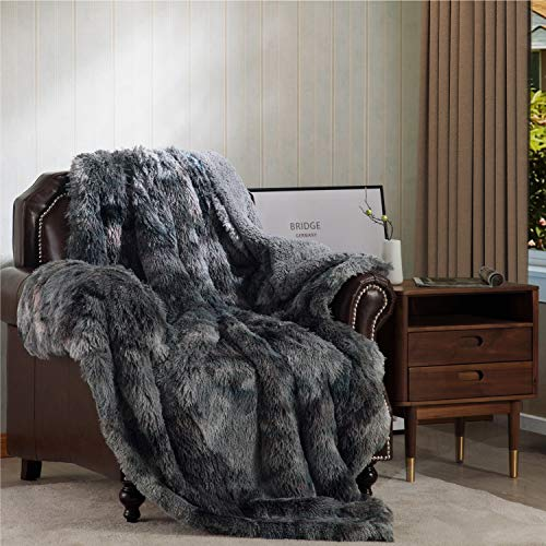 Bedsure Super Soft Fuzzy Faux Fur Reversible Sherpa Throw Blanket for Sofa, Couch and Bed - Plush Fluffy Fleece Blanket as Gifts (50x60 inches, Grey)