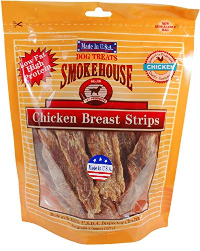 - Smokehouse USA Chicken Breast Strips Dog Chews, 8 Ounce, 2 Pack