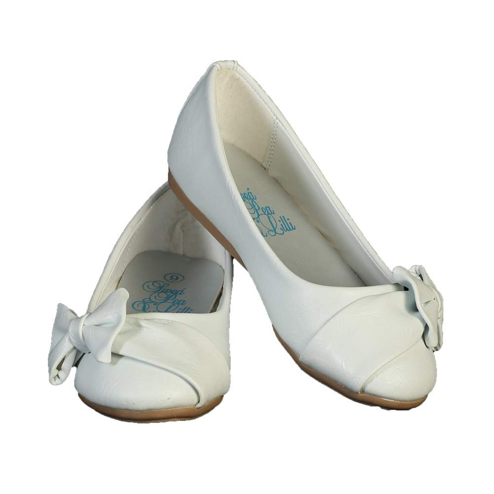 Lito Toddler Girls White Bow June Special Occasion Dress Shoes 5-10