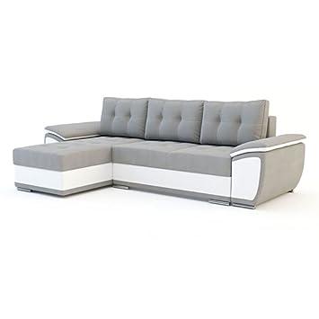 canap angle gauche convertible en nubuk gris et pvc blanc kinga - Canape Angle Gauche Convertible