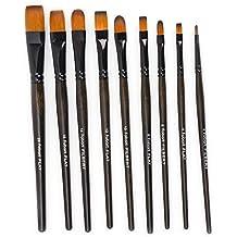 Fabart 14 Piece Artist Paint Brush Set - Round, Flat, and Filbert