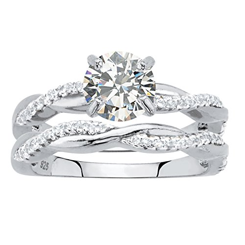 .925 Sterling Silver Round Cubic Zirconia 2 Piece Twisted Vine Wedding Ring Set Size 9