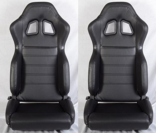 1 PAIR R Type Faux Leather Sport Reclinable Racing Seats With Sliders (All Black)