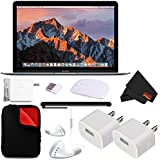 Apple 12 MacBook (Mid 2017 Space Gray) 256GB SSD (MNYF2LL/A) + MicroFiber Cloth + 2.4 GHz Slim Optical Wireless Bluetooth + Padded Case For Macbook Bundle