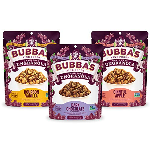 Bubba's Fine Foods Gluten-Free Granola, Variety Pack, 6 Ounce (Pack of 3) | Grain-Free, Gluten-Free, Vegan, Paleo, Dairy Free and Certified Non-GMO
