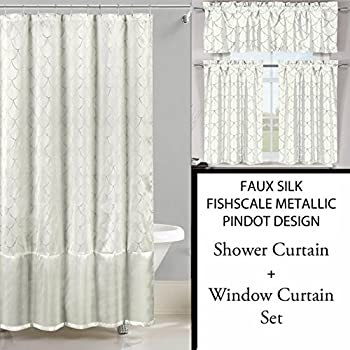 Shower Curtain And 3 Pc Window Set Metallic Raised Pin Dots Fish Scale