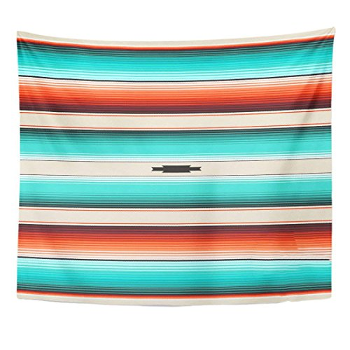 Emvency Tapestry Turquoise Orange Navajo White Stripes Mexican Serape with Threads Native American Ethnic Boho Home Decor Wall Hanging for Living Room Bedroom Dorm 60x80 Inches