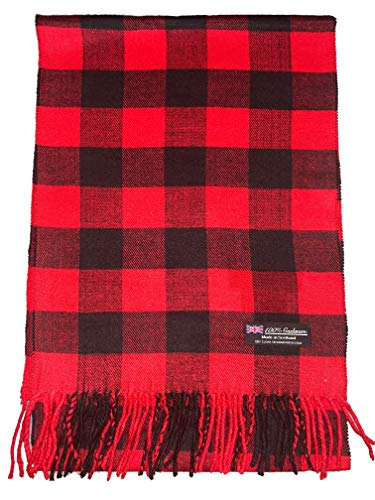 2 PLY 100% Cashmere Scarf Elegant Collection Made in Scotland Wool Solid Plaid Men Women (Red Black Buffalo (C)) (Collection Kids Cashmere)