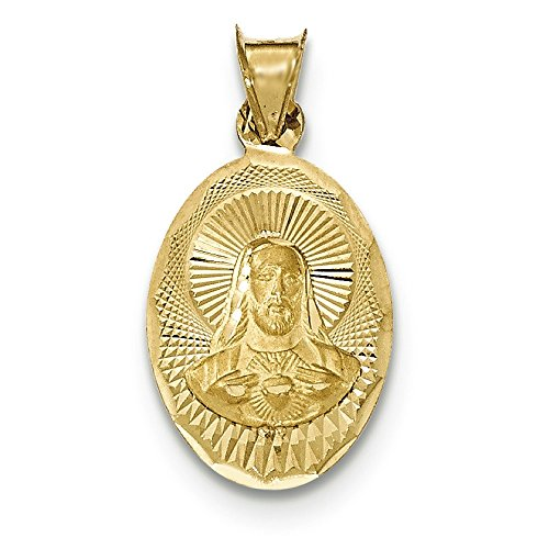 14K Yellow Gold Sacred Heart of Jesus Oval Medal Charm Pendant ()
