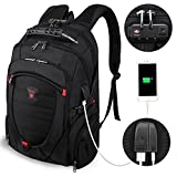 Tzowla Travel Laptop Backpack Anti-Theft Water Resistant Business Backpack TSA Lock & USB Charging Port TSA Friendly Computer Backpack Men Women College School Bag Fit Under17 inch Laptops (Black)