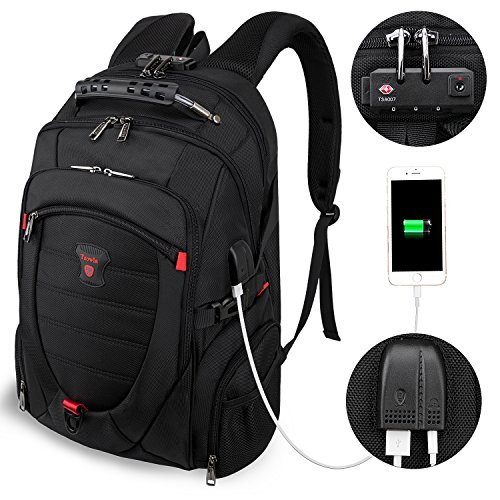 Tzowla Travel Laptop Backpack Anti-Theft Water Resistant Business Backpack TSA Lock & USB Charging Port TSA Friendly Computer Backpack Men...