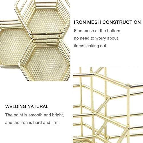 KOBWA Bleistifthalter Topf Hohl Rose Muster Topf Mesh Pen Cup Container Make-up Pinsel Ablagekorb Schreibtisch Aufger/äumt B/üro Organizer-Golden