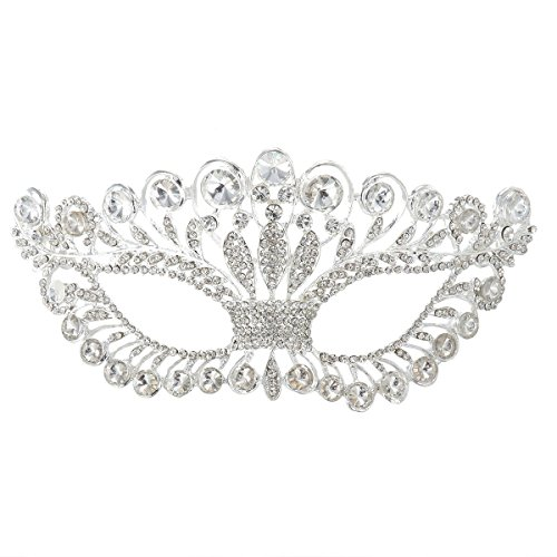 - OULII Masquerade Mask Luxury Diamond Rhinestone Fancy Mask Party Crown Mask for Women Lady
