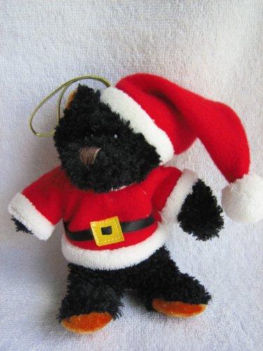 (Hugfun Bear Plush Ornament Black Bear with Red Santa Suit and Cap - 5 1/2