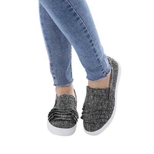 Schuhe Schuhe Elegante Damenschuhe Runde Flache Schuhe Schuhe Freizeitschuhe Weibliche Schuhe friendGG Spitze Große Wildleder Schuhe Schuhe Dunkelgrau Einzelne Schuhe Kopf Schuhe FCfIvcx