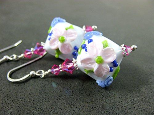 Light Pink Purple Floral Crystal Shaped Lampwork Glass Bead Earrings