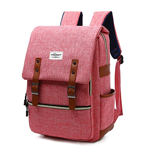 Vintage Laptop Backpack Canvas College Backpack School Bag Fits 15inch Laptop by Puersit (Red)
