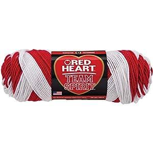RED HEART  Team Spirit Yarn, Red/White