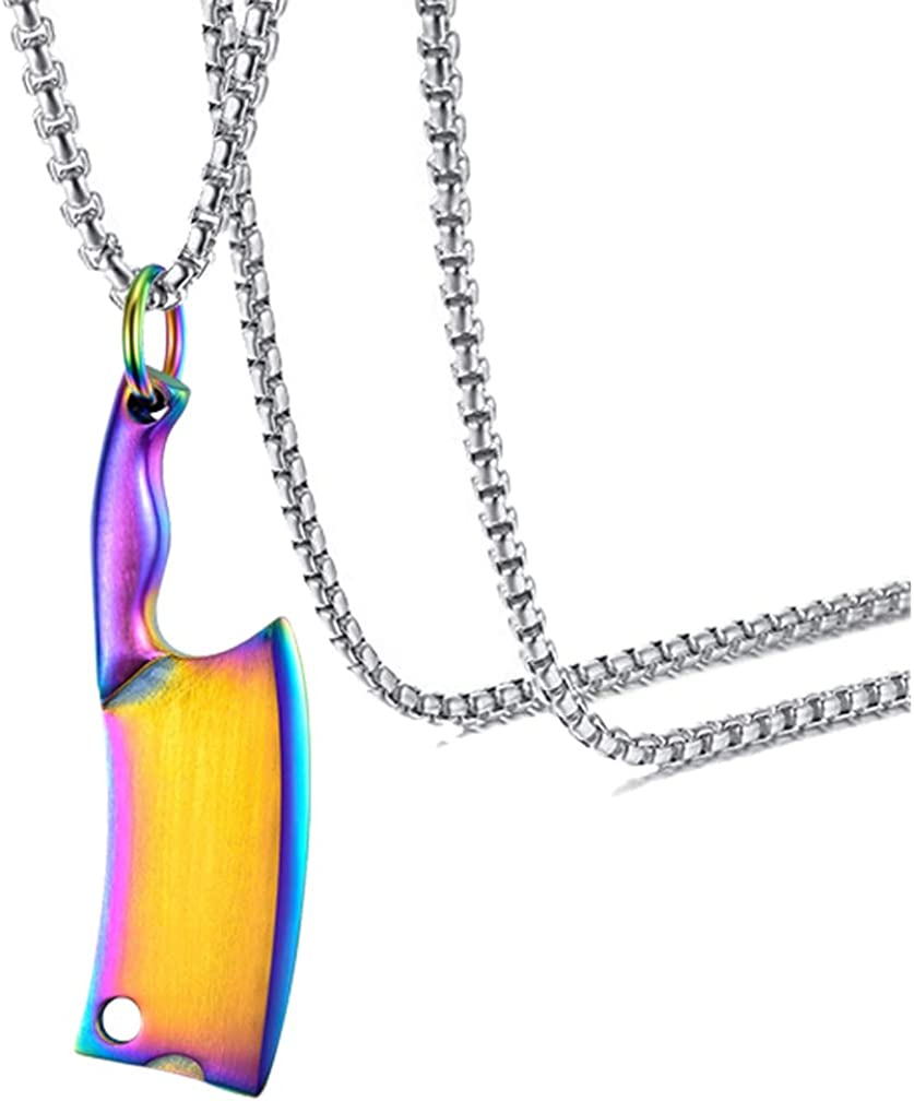 Xusamss Fashion Classic Titanium Steel Kitchen Knife Tag Pendant Necklace,22inches Chain