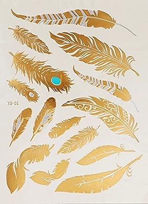 Amazon Com Metallic Gold Silver Henna Peacock Feather Design