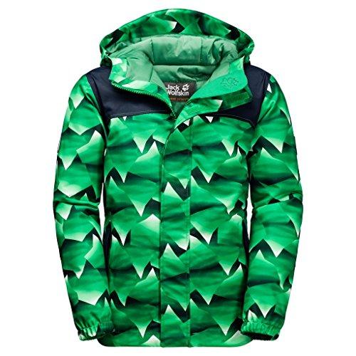 Jack Wolfskin Boys Kajak Falls Printed Jacket, Forest Green Allover, Size 104 (3-4 (Gore Waterproof Oxfords)