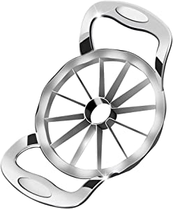 Newness Apple Slicer, [Upgraded] 12-Slice Apple Slicer and Corer, Heavy Duty Stainless Steel Apple Cutter, Pitter, Divider with Ultra-Sharp Blade & Ergonomic Grip Handle for Apple, Pear and Onion