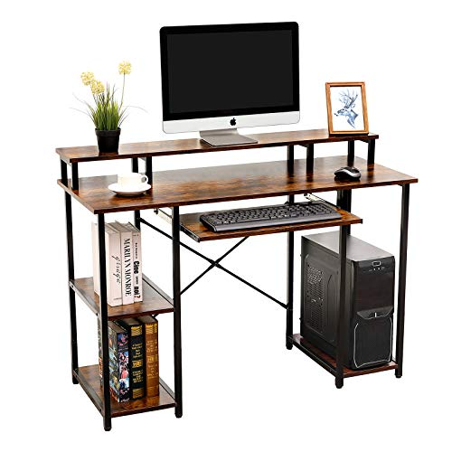 AIKA Computer Desk with Storage Shelves/Keyboard Tray/Monitor Stand Study Table for Home Office (Industrial/Rustic Brown)