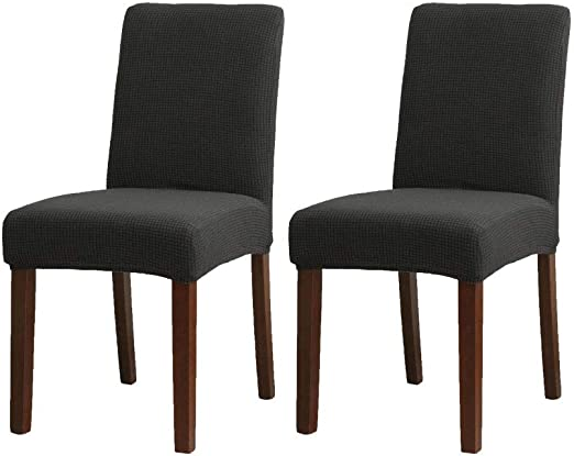 Amazon Com Niceec Easy Fitted Dining Chair Covers Slipcovers Polyester Stretch Removable Washable Kitchen Parson Chair Covers Protector For Dining Room Wedding Ceremony Set Of 2 Black Kitchen Dining