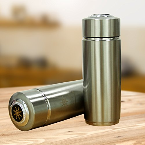 2 Pack Silver Alkaline Energy Flask Ionizer Water Bottle Ion Cup with Cases NEW