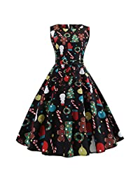 OCEAN-STORE Women's Vintage Dresses Christmas Evening Party Swing Dress
