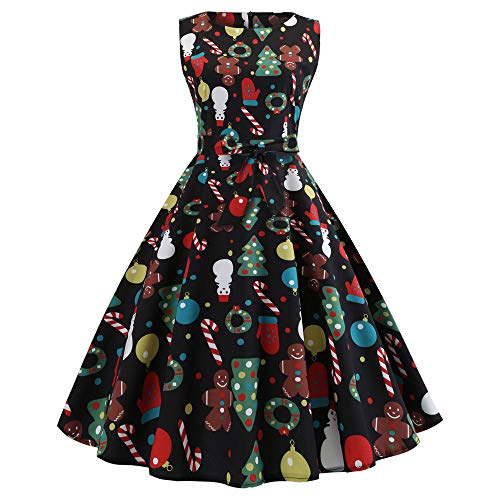- Women's Elegant Christmas Dress,1950s Retro Sleeveless Santa Printed Evening Prom Swing Dress Year