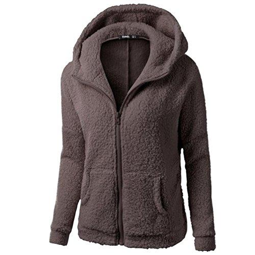 YANG-YI 2017, Women Hooded Sweater Coat Winter Warm Wool Zipper Coat Cotton Coat (Coffee, XL) by YANG-YI