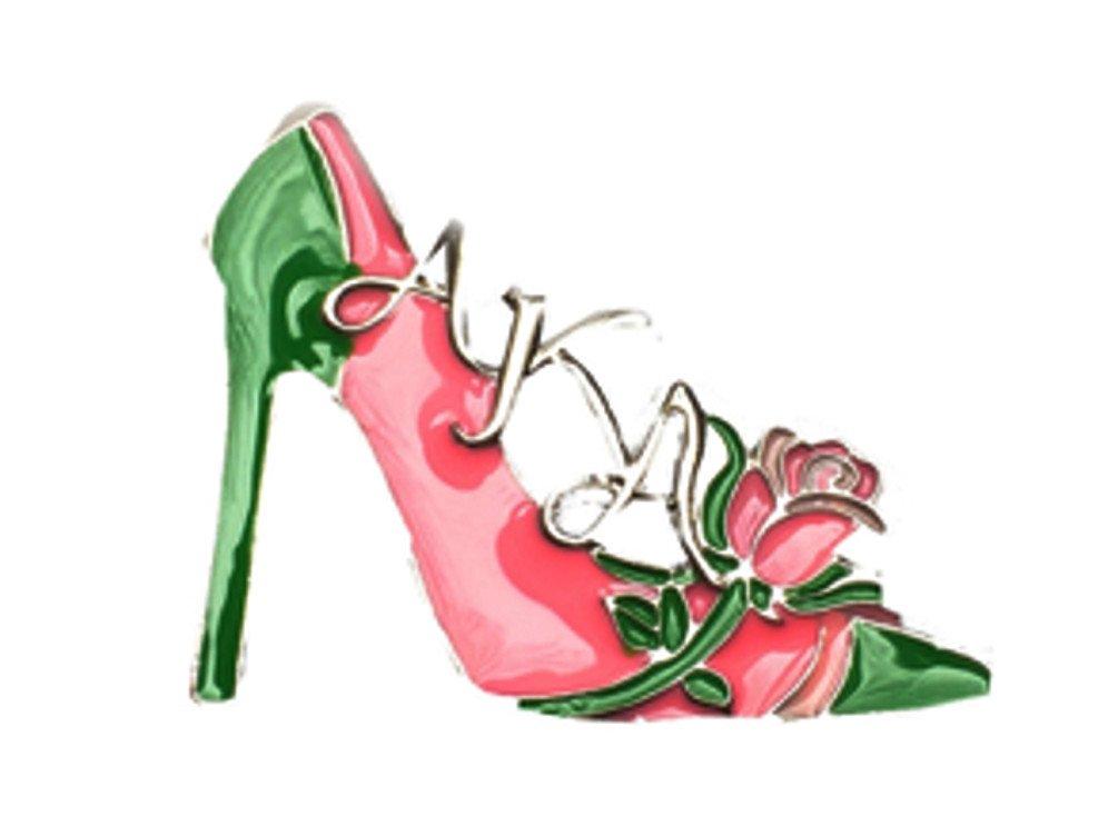 Nathan J. Alpha Kappa Alpha Sorority Pink Green Rose High Heel Pin-Brooch