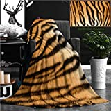 Nalagoo Unique Custom Flannel Blankets Beautiful Tiger Textured Fur Stripes On Animal Pelt Super Soft Blanketry for Bed Couch, Twin Size 80'' x 60''
