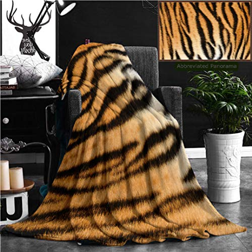 Nalagoo Unique Custom Flannel Blankets Beautiful Tiger Textured Fur Stripes On Animal Pelt Super Soft Blanketry for Bed Couch, Twin Size 80'' x 60'' by Nalagoo
