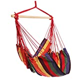 Homdox Hanging Rope Hammock Chair Porch Swing Seat for Indoor or Outdoor Spaces Max.265 Lbs with One Spreader Bar Red Purple