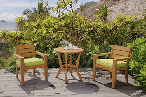 Global Outdoors 3-Piece Eucalyptus Bistro Set (Green) For Sale