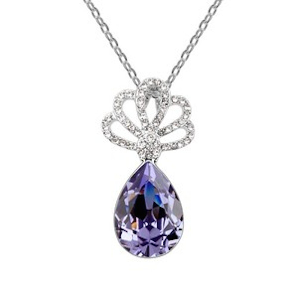 Sparkling Colored Teardrop with Clear Decorative Fan Charm Necklace