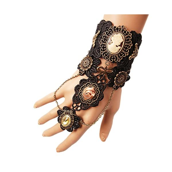 MEiySH Gothic Lolita Retro Steampunk Gear Lace Slave Bracelet Wristband Black Flower Ring 4