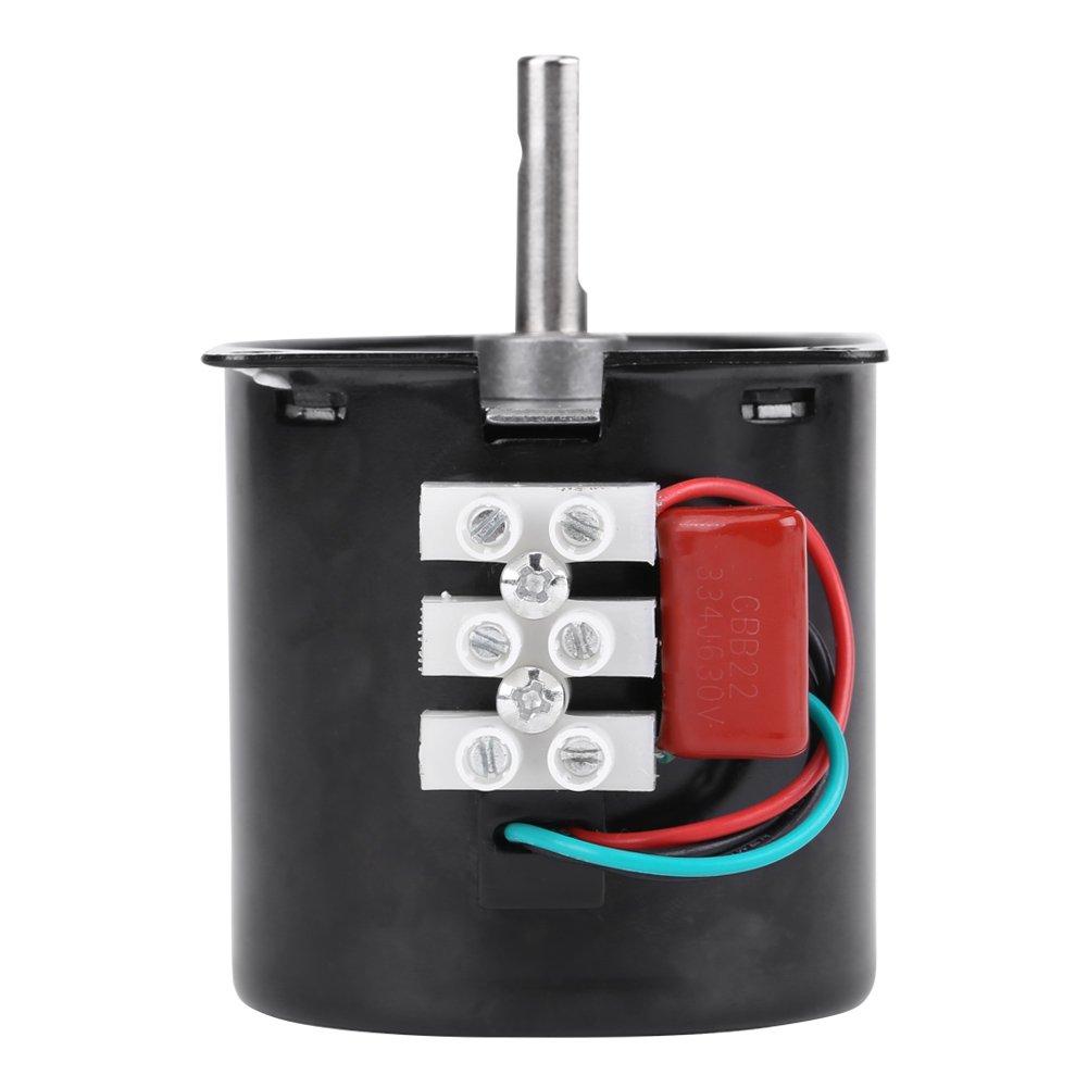Walfront 60KTYZ AC 220V Moteur Synchrone /à Engrenages /à Aimants Permanents Electrique Bo/îte Variateur de Vitesse pour DIY Remplacement 5tr//Min