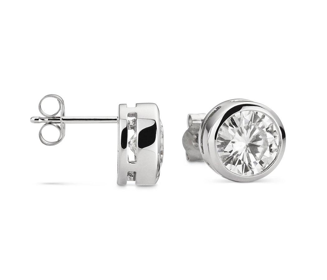 Forever Brilliant White Gold 5.0mm Round Moissanite Stud Earrings, 1.00cttw DEW By Charles & Colvard