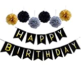 Happy Birthday Party Decorations Bunting Banner With Set Of 6 Gold Silver Black Tissue Pom Pom Ball