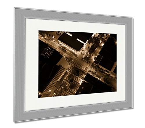 Ashley Framed Prints Drone Photo Lincoln Road Miami Beach, Wall Art Home Decoration, Sepia, 30x35 (frame size), Silver Frame, - Beach Road Miami Lincoln