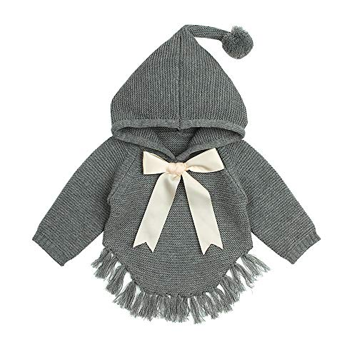 Birdfly 12M-3T Infant Toddler Baby Kid Girl Tassel Sweater with Neck Bowknot Fall Winter Knitted Hoodie (3T, Gray) -